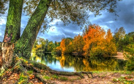 Preview wallpaper Autumn, lake, trees, clouds, HDR style