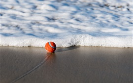 Preview wallpaper Ball, beach, sea, foam
