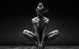 Ballerina, girl, pose, black and white picture