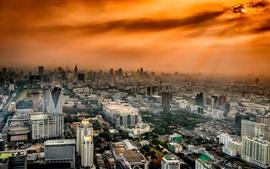 Bangkok, Tailandia, ciudad, edificios, cielo rojo, anochecer