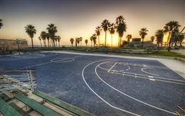 Preview wallpaper Basketball playground, palm trees, sunset