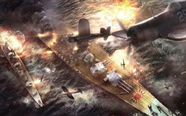 Preview wallpaper Battle of Okinawa, battleship, fighters