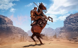 Preview wallpaper Battlefield 1, soldier, horse, desert