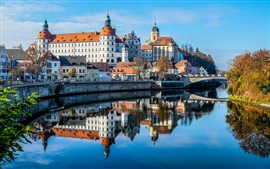 Preview wallpaper Bayern, Germany, castle, church, Danube river, bridge, city