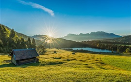 Preview wallpaper Bayern, Germany, grass, trees, hut, lake, sunrise, dawn