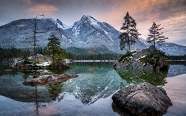 Preview wallpaper Bayern, Hintersee, lake, mountains, alps, trees, stones, dusk, Germany