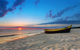 Preview wallpaper Beach, sea, boat, clouds, sunset