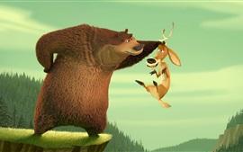 Bear and deer, cartoon