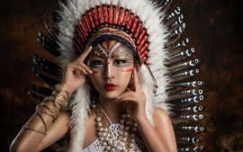 Beautiful Asian girl, makeup, decoration, feathers, Indian style