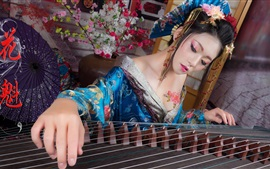 Preview wallpaper Beautiful Japanese girl, playing guzheng, retro style dress