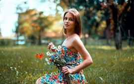 Preview wallpaper Beautiful girl in summer, skirt, flowers
