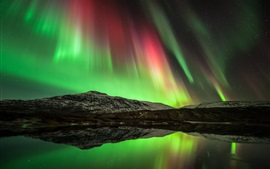 Preview wallpaper Beautiful northern lights, lake, sky, mountains, water reflection