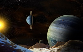 Preview wallpaper Beautiful planets, space, ring, sun