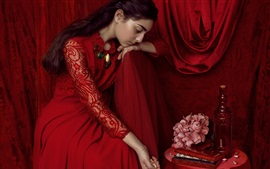 Preview wallpaper Beautiful red dress bride, sadness