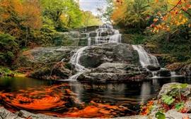 Красивые водопады, скалы, деревья, осень