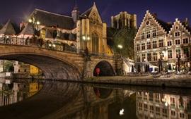 Bélgica, Ghent, ponte, rio, noite, casas, luzes