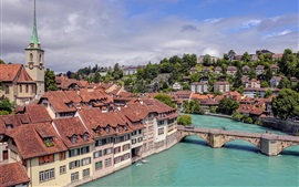 Preview wallpaper Bern, Switzerland, city, houses, river, bridge, clouds