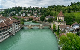 Preview wallpaper Bern, Switzerland, river, bridge, houses