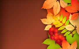 Preview wallpaper Berries, yellow leaves, autumn, vector picture