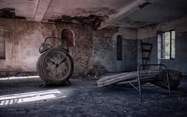 Big alarm clock, room, ruins, creative picture