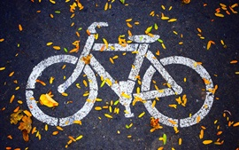 Preview wallpaper Bike path icon, road, leaves