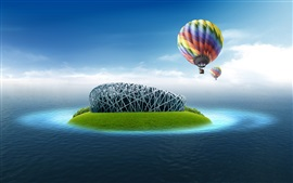 Preview wallpaper Bird's Nest Stadium, hot air balloon, sea water, creative design