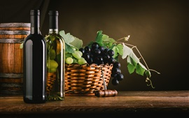Preview wallpaper Black and green grapes, basket, wine