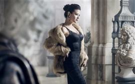 壁紙のプレビュー 黒いスカートアジアの女の子、コート