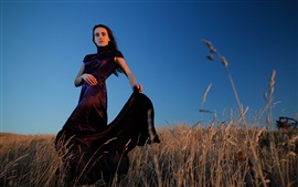 Preview wallpaper Black skirt girl, grass, countryside