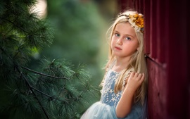Preview wallpaper Blonde child girl, pine tree