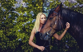 Preview wallpaper Blonde girl and brown horse