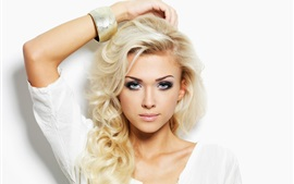 Preview wallpaper Blonde girl, curly hair, white background