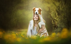 Preview wallpaper Blonde girl, dog on head