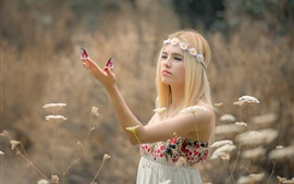 Preview wallpaper Blonde girl, wreath, butterfly