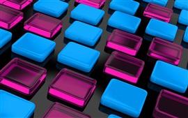 Fondo de cubos cuadrados azules y púrpuras