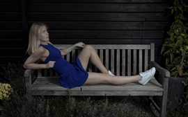 Preview wallpaper Blue dress girl rest on bench