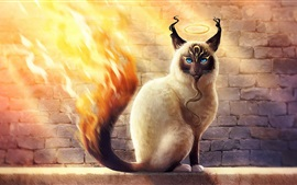 Preview wallpaper Blue eyes cat, fire tail, creative design