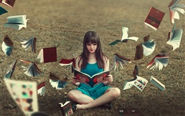 Preview wallpaper Blue skirt girl read book, books flying