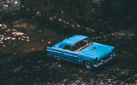 Preview wallpaper Blue toy car, water drops