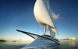 Лодка, парусник, море