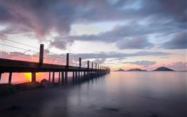 Бодрум, Турция, мост, пристань, облака, закат