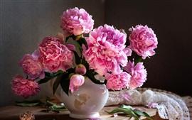 Букет, розовые пионы, капли воды