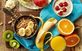 Aperçu fond d'écran Petit déjeuner, pommes, banane, oranges, framboise, muesli, jus