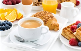 Preview wallpaper Breakfast, coffee, bread, cookie, oranges