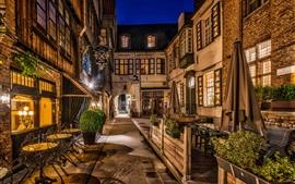 Brujas, Bélgica, noche de la ciudad, calle, luces