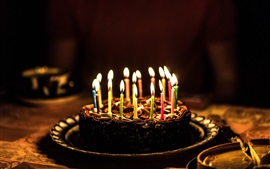 Cake, candles, flame, congratulation