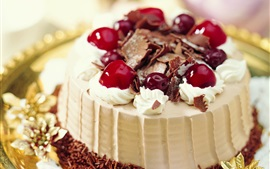 Preview wallpaper Cake, cream, cherry, chocolate, dessert