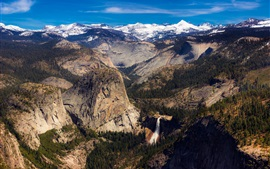 Preview wallpaper California, USA, beautiful nature landscape, mountains, waterfall, trees