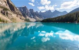 Canadá, Parque Nacional Banff, lago, bosque, árboles, reflexión