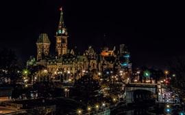 Canadá, Ottawa, ciudad, noche, edificios, luces, árboles